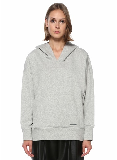 Academia Academia 101508837 Kapüşonlu Sırt Detaylı Kadın Sweatshirt Gri